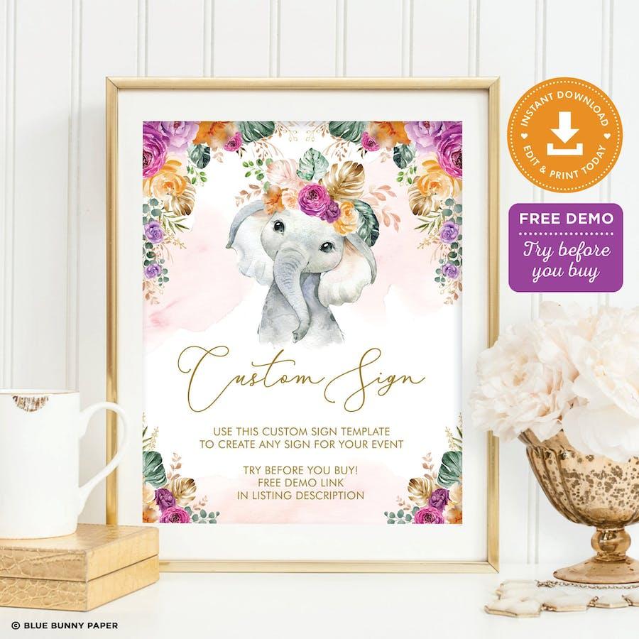 Flower Elephant Custom Party Sign