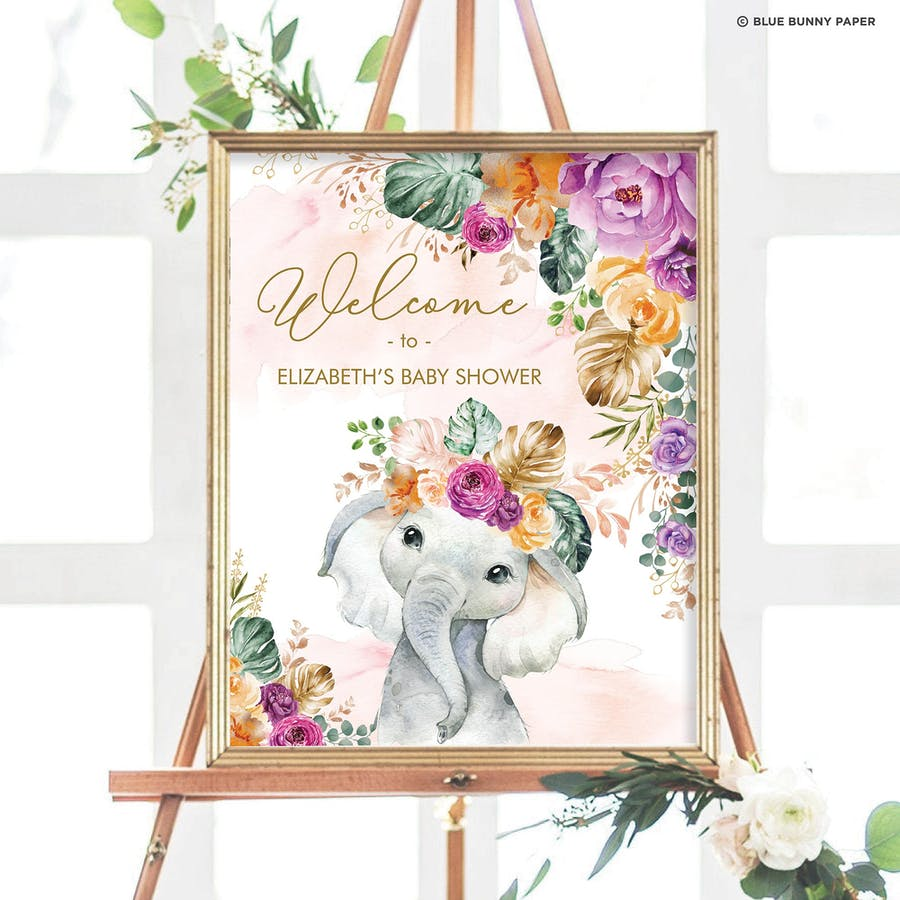 Flowers Elephant Party Welcome Sign