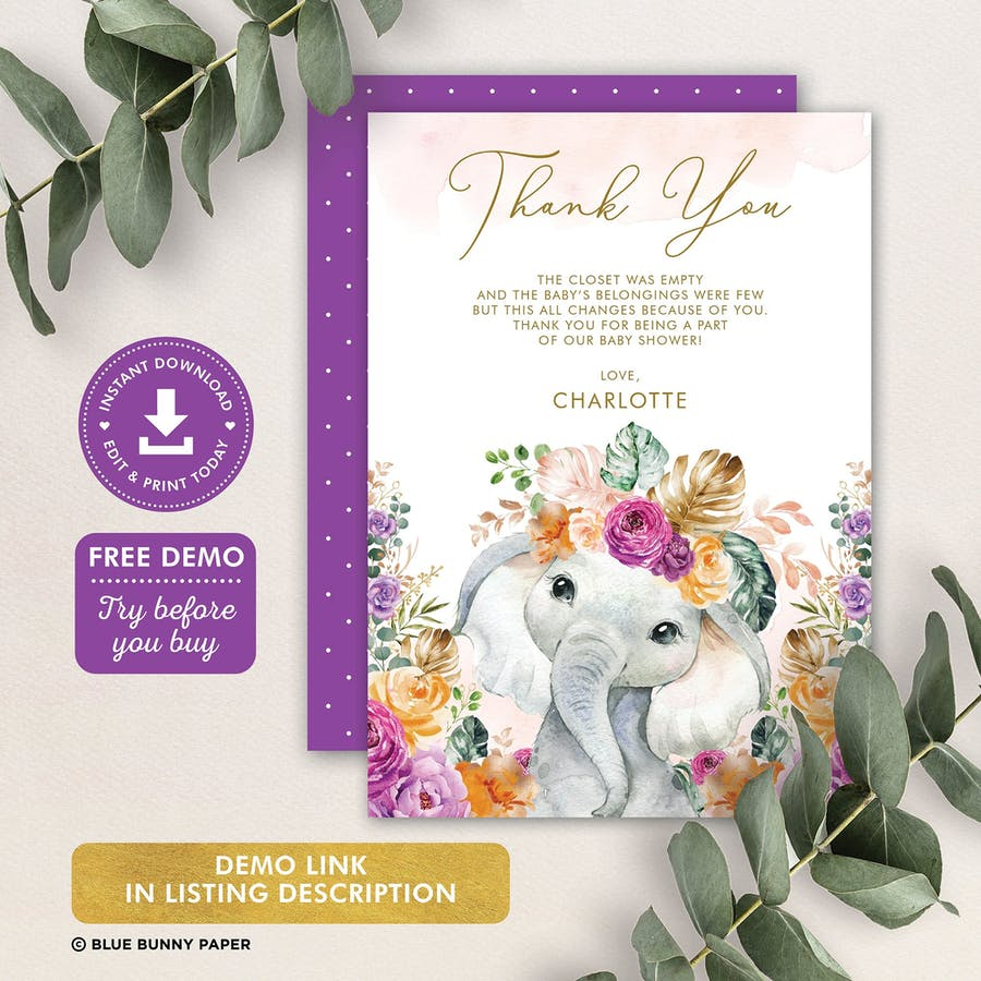 Flower Elephant Baby Shower Thank You Card