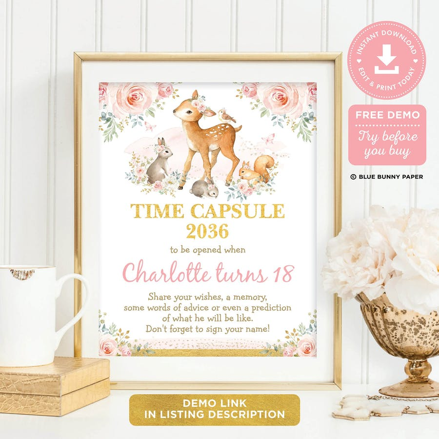 Girl Woodland Time Capsule Sign and Card