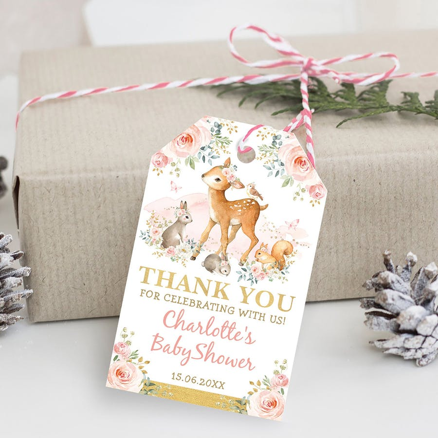 Girl Woodland Party Favor Tag