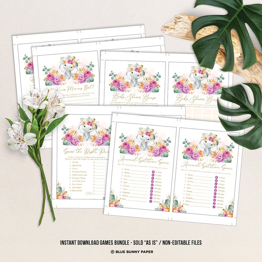 Flower Elephant Baby Shower Games Package