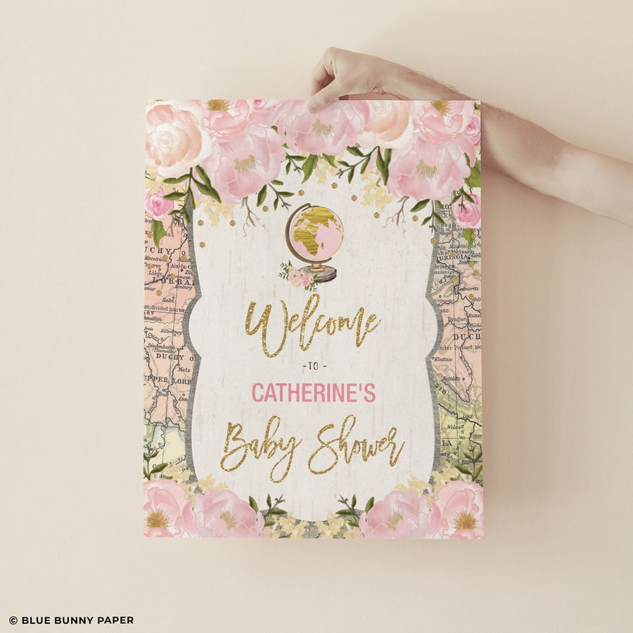 Travel Pink Flower Party Welcome Sign