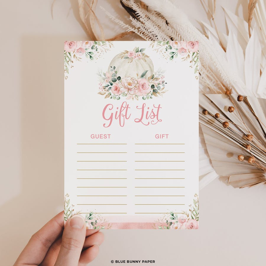 Gift List Baby Shower Game