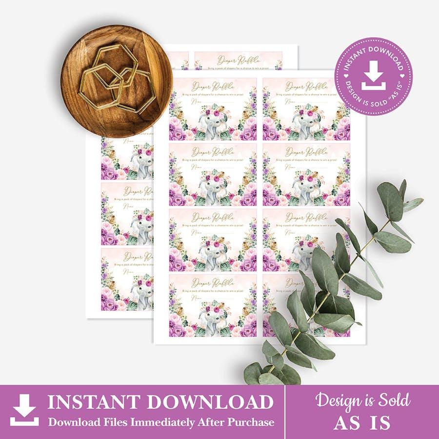 Purple Flowers Elephant Baby Shower Diaper Raffle Card