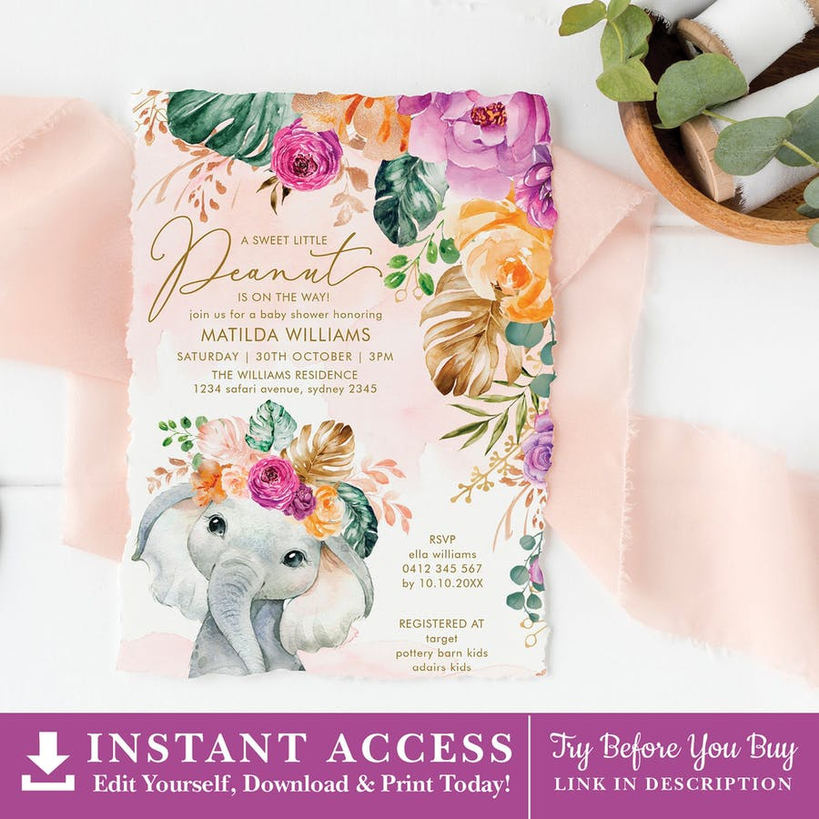 Flowers Elephant Baby Shower Invitation
