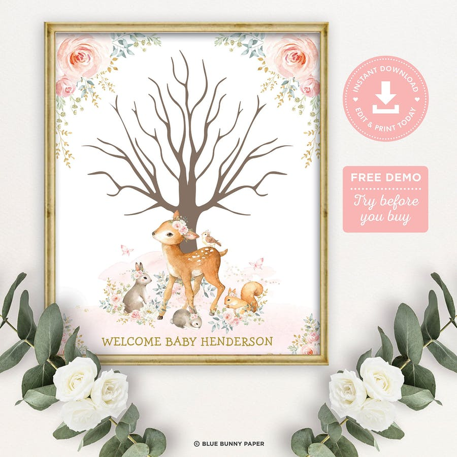 Girl Woodland Thumbprint Guestbook